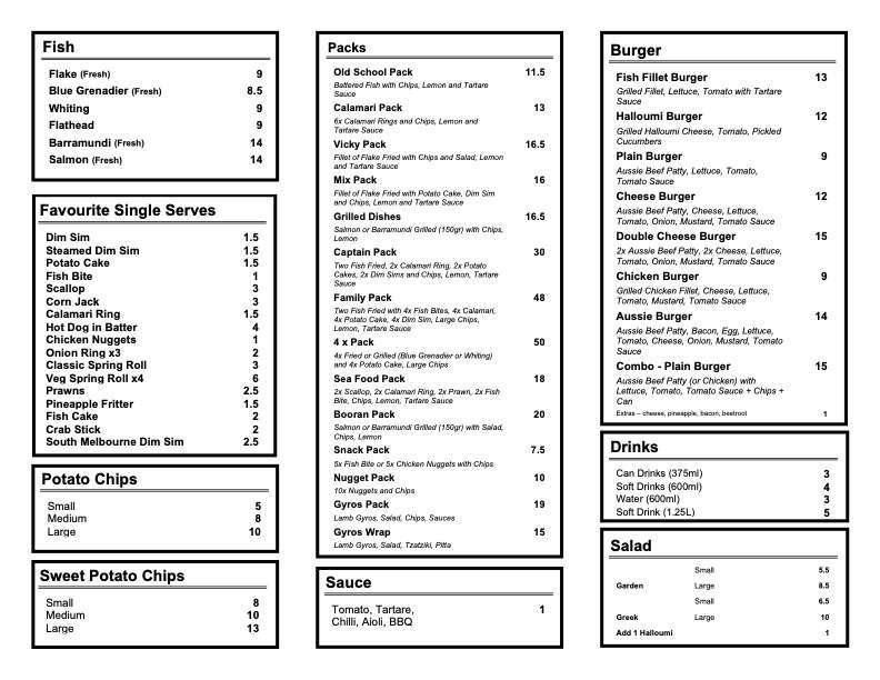 caulfield fish and chips menu